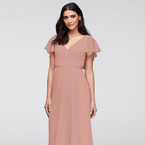 Ballet flutter sleeve long chiffon dress (David's)
